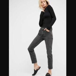 LEVI'S 505C Cropped dark grey mom jeans